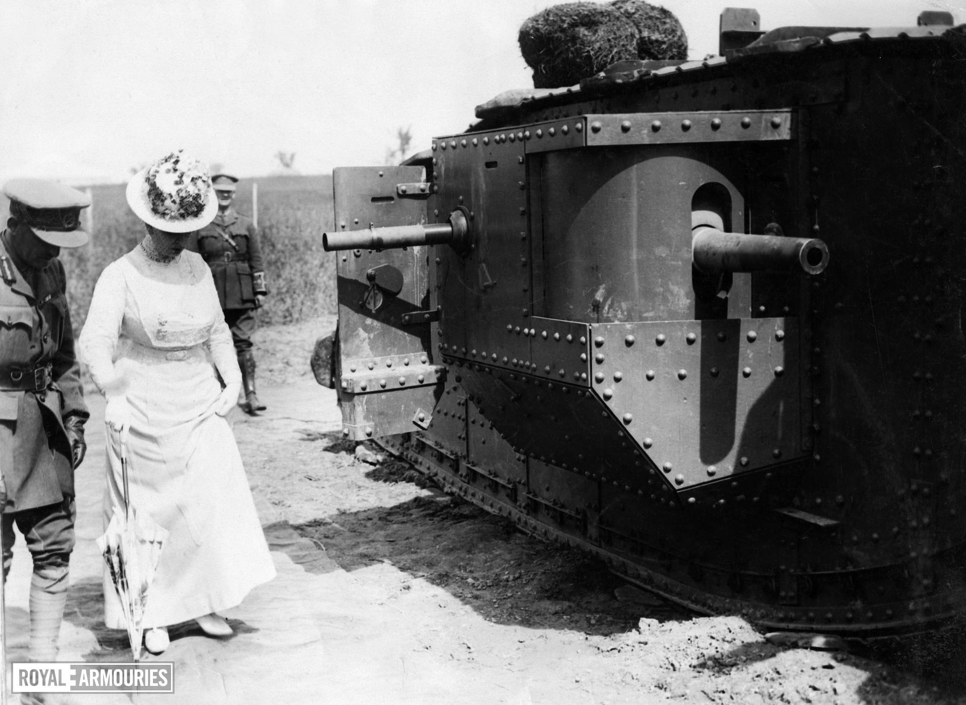 Official photograph taken on the British Western Front showing 'Her Majesty with the Tanks. Great interest was shown by their Majesties in the Tankdrome on the occassion of the Royal Visit to the British front in the Summer of this year,' taken from a collection of First World War photographs, early 20th century