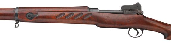 Thumbnail image of Pattern 1913 (P13), centrefire bolt action rifle, Enfield, Britain, 1914 produced by the Royal Small Arms Factory (RSAF.) Improved model with finger grooves and rear of body reprofiled in the style of the later Pattern 1914 and 1917 rifles.