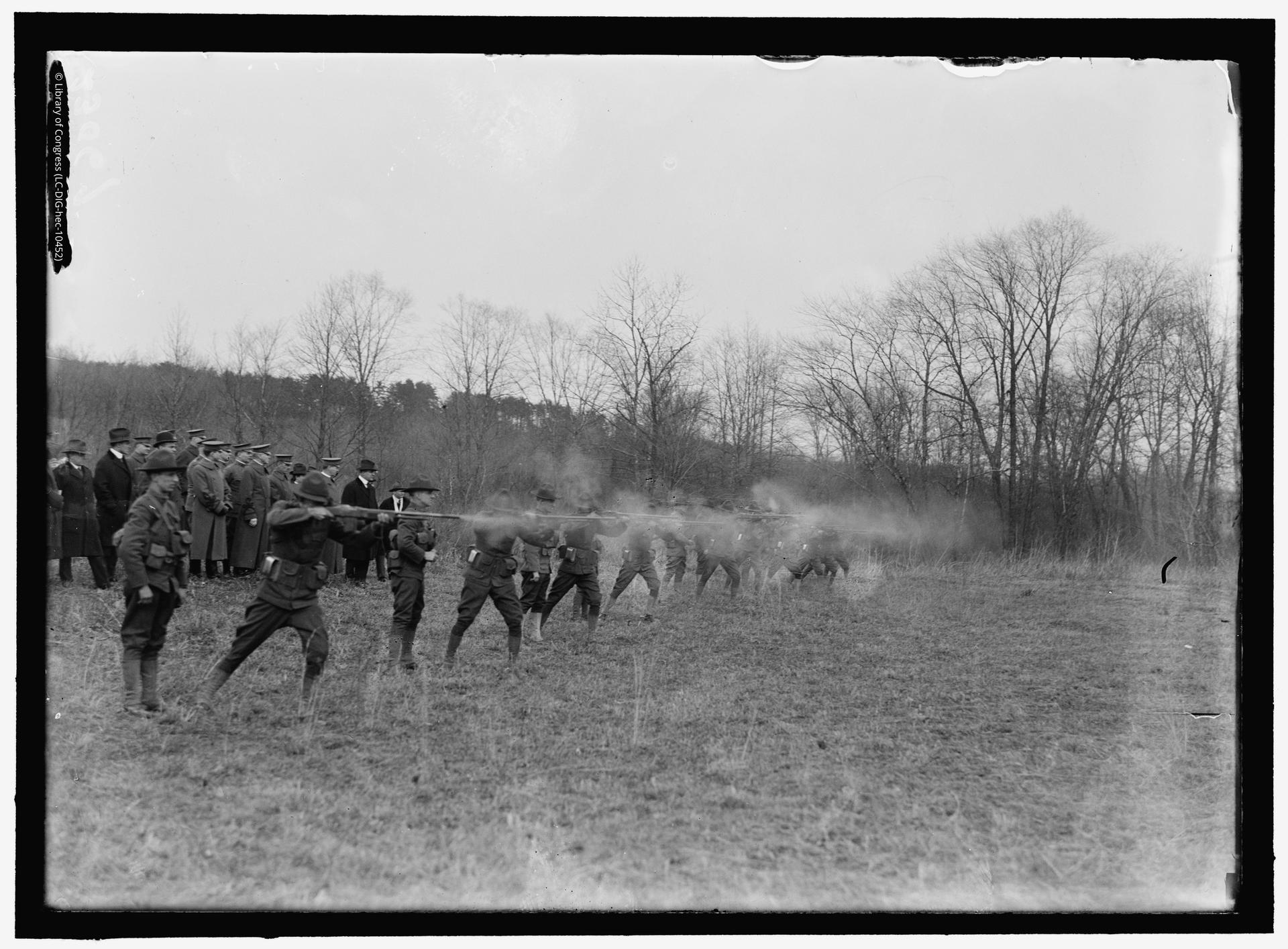 Photograph showing US Army machine gun tests. A test of the BAR prior to its first deployment during the Meuse-Argonne offensive, 1918