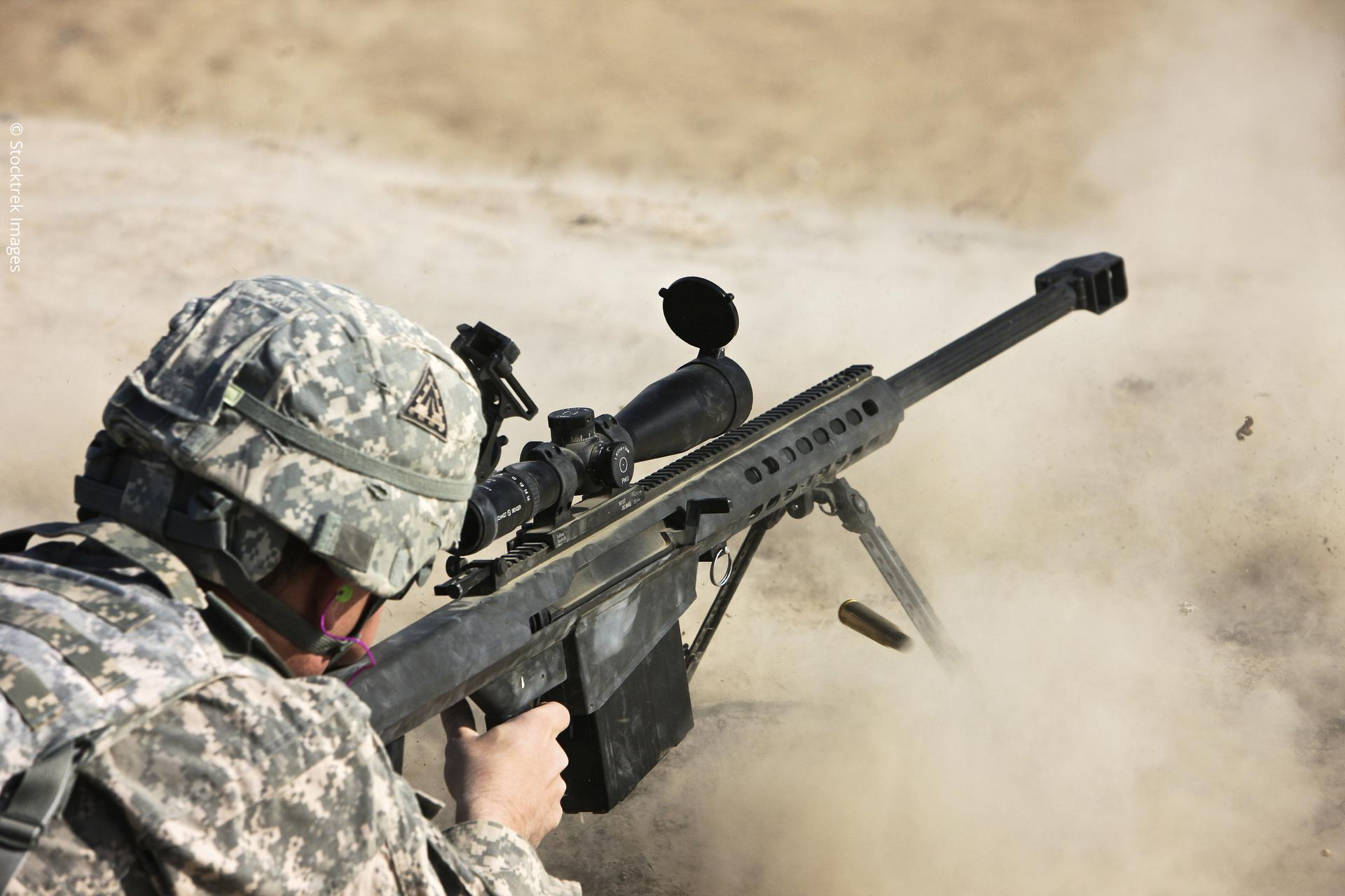 Photograph of a U.S. Army soldier firing a Barrett M82A1 rifle on a firing range, Kunduz, Afghanistan, 2012.