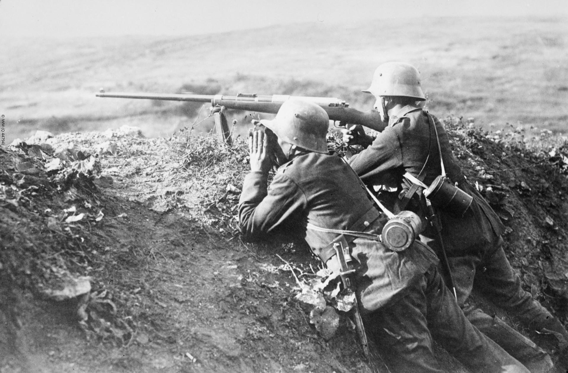 Photograph showing a German T-Gewehr anti tank gun in action during the retreat from Verdun at Hill 510, France 1918.