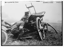 Thumbnail image of Photograph showing British military  despatch riders with vehicle during World War I, October 27th, 1914.