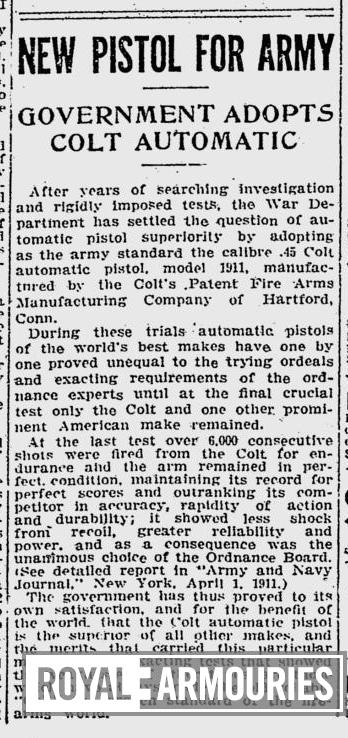 Newspaper article stating 'New Pistol for Army. Government adopts Colt Automatic,' taken from The Pittsburgh Post-Gazette, April 13th, 1911