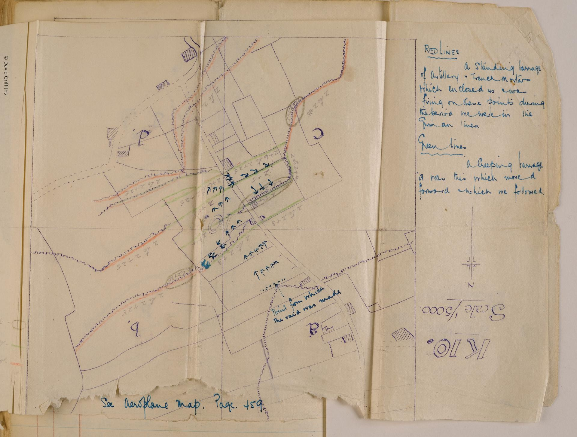 First World War trench raid map belonging to Harry Drinkwater, Western Front, 1914-1918