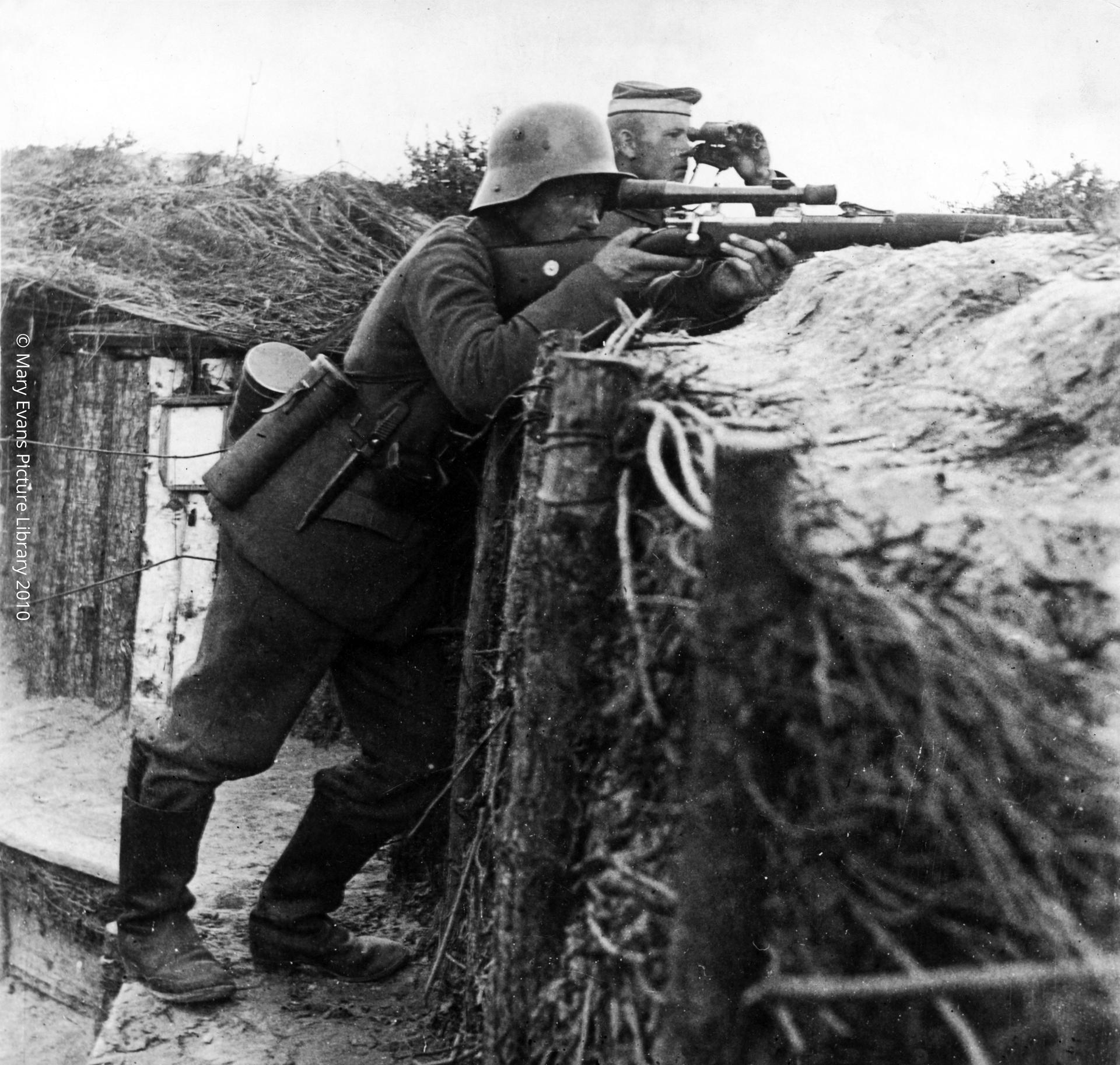 German sniper in a trench on the Western Front during World War I Date: 1917