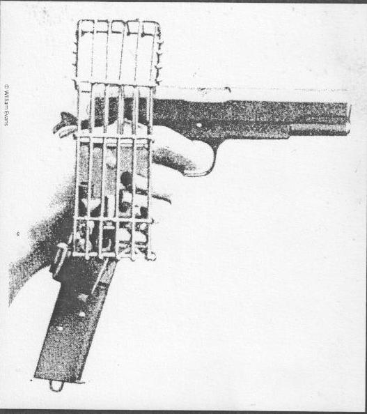 Illustration of a brass-catching cage.London gunmaker William Evans provided 25 of these brass-catching cages to the government. They would keep hot cartridge cases away from the aircraft's fabric and engine.© William Evans