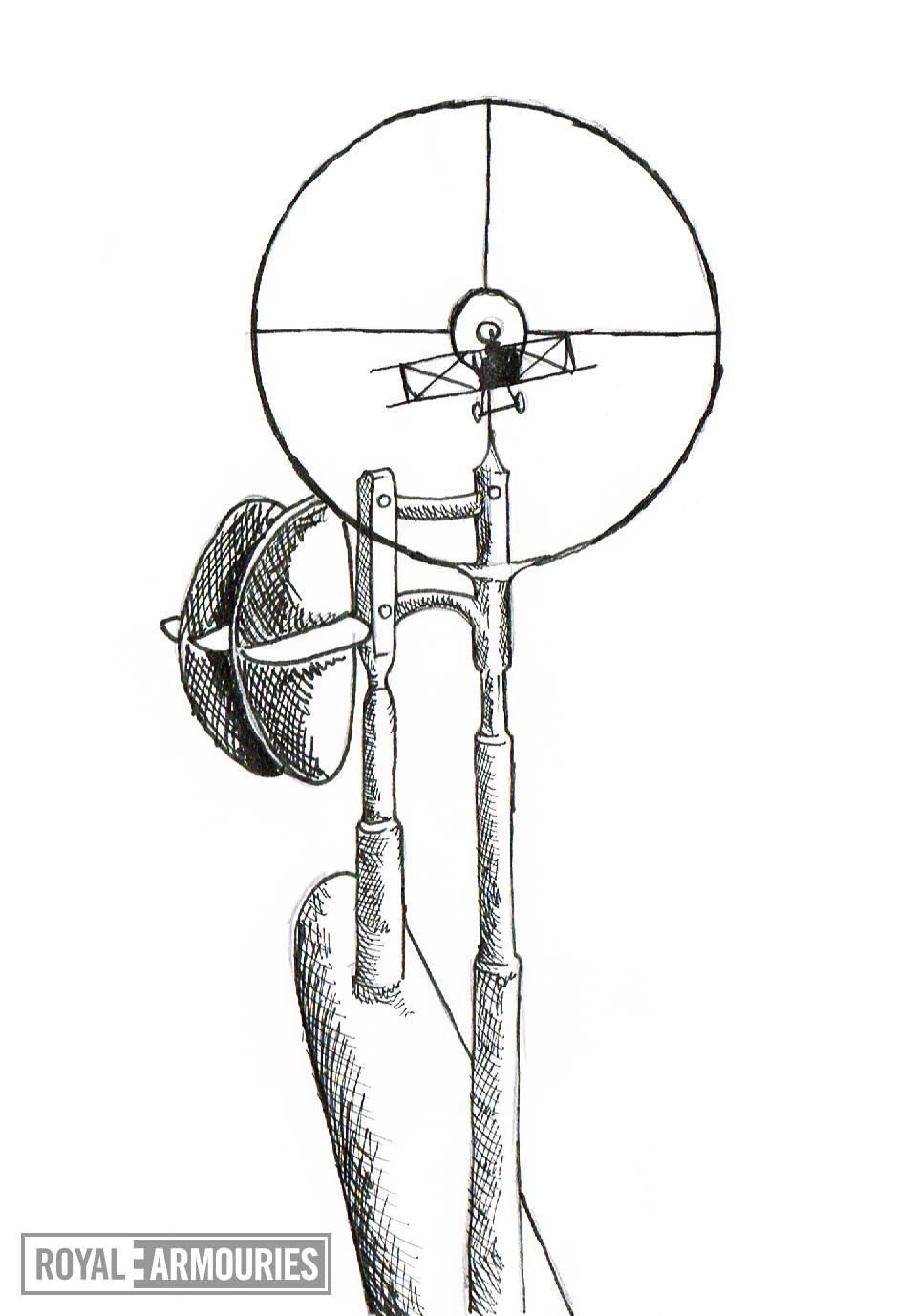 Black and white drawing of an aircraft vane sight.The vane sight was invented by Lieutenant G H Norman, Workshop Officer of 18 Squadron, Royal Flying Corps. It compensated for the speed of the aircraft that the gun was mounted on.
