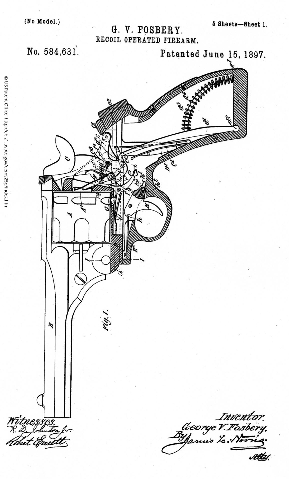 Patent Drawing for the G.V. Fosbery recoil operated firearm, June 15th, 1897. US Patent No. 584631.