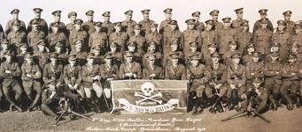 Thumbnail image of Unit photograph of the 200th 'Battalion of Death', showing their threatening unit insignia.