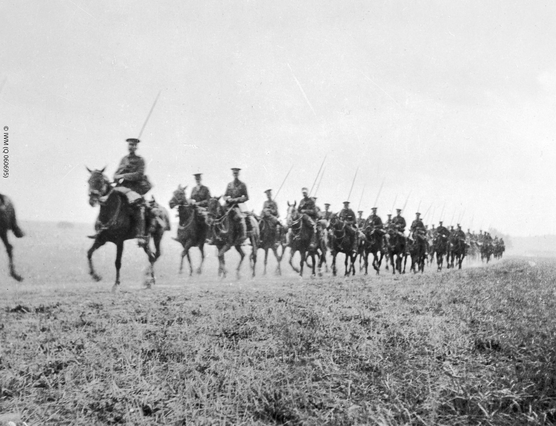 Photograph showing the men and horses of the Cavalry Division, British Expeditionary Force, retreat from Mons in August 1914.