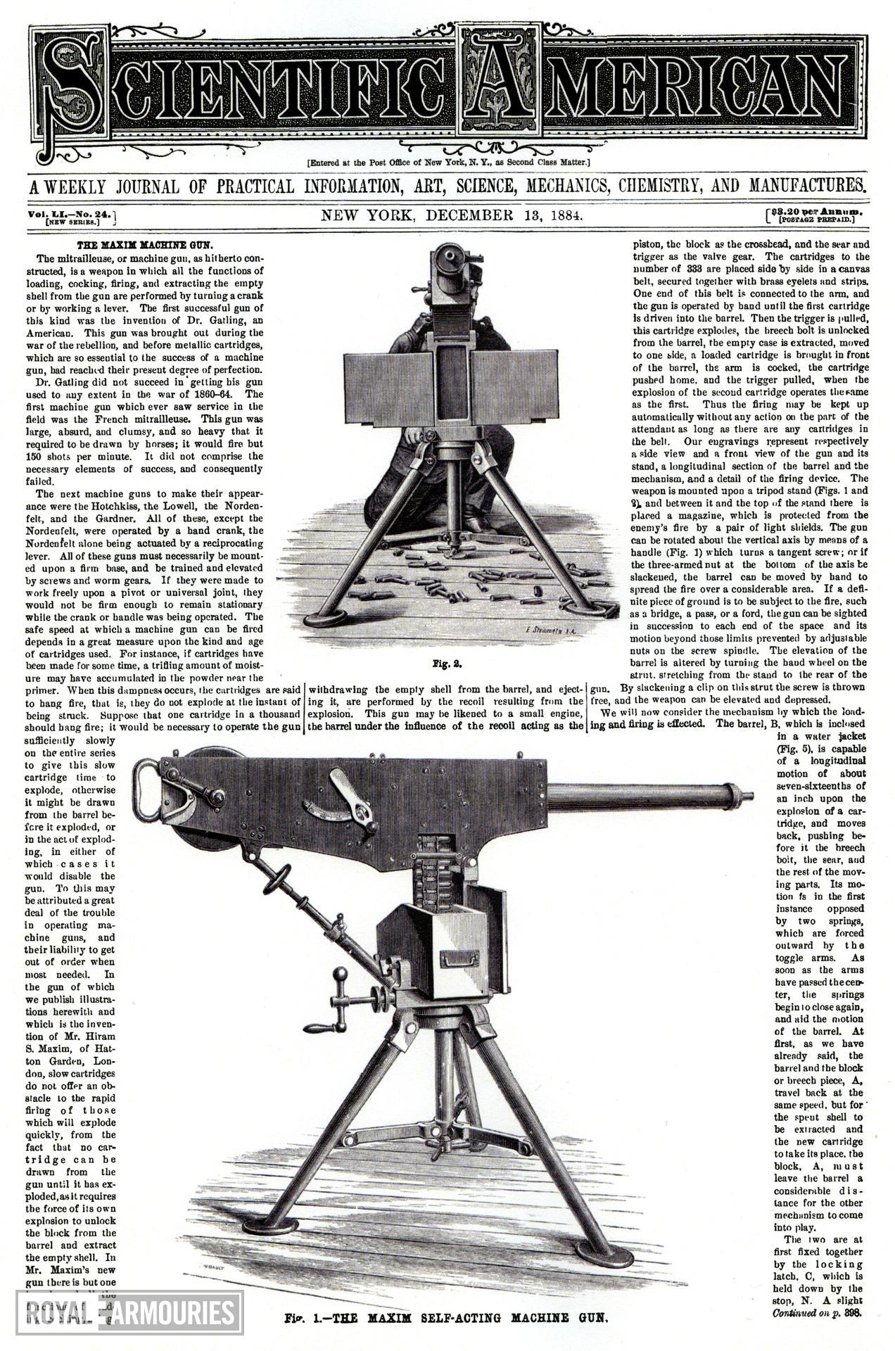 Journal article taken from the Scientific American covering the Maxim machine gun, New York, United States, December 13th, 1884