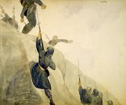 Thumbnail image of Watercolour painting entitled , 'Rosalie, Rosalie! Rosalie is the Nickname for the French Bayonet,' by Clagget Wilson, 1919