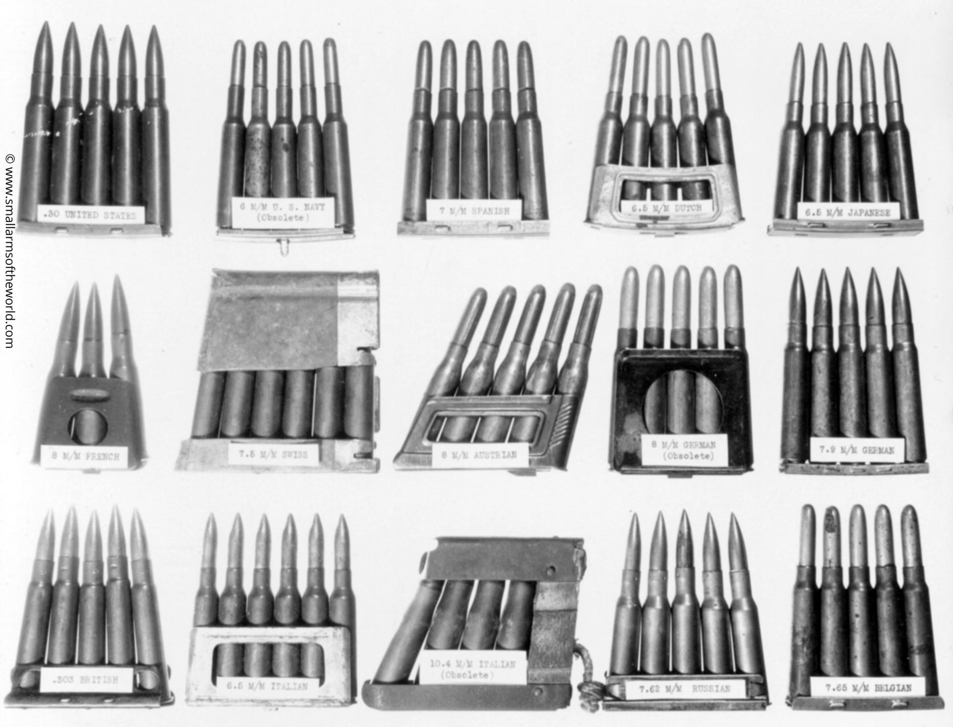 Photograph showing an assortment of ammunition types