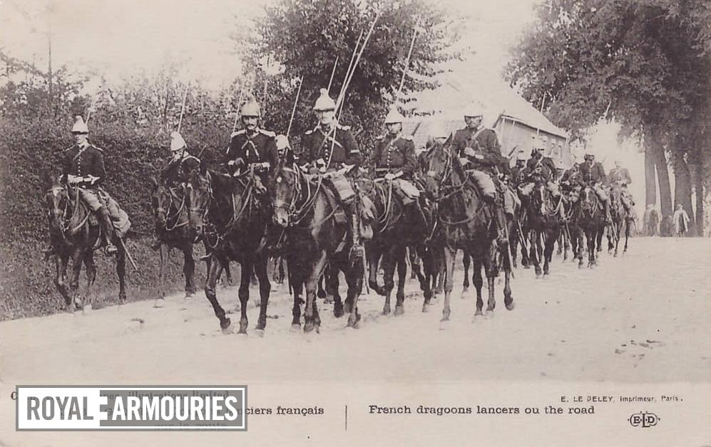 Photograph showing French dragoons lancers on the road, printed by E. Le Deley, Imprimeur, Paris