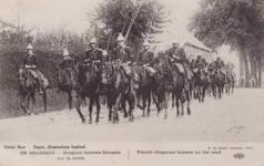 Thumbnail image of Photograph showing French dragoons lancers on the road, printed by E. Le Deley, Imprimeur, Paris