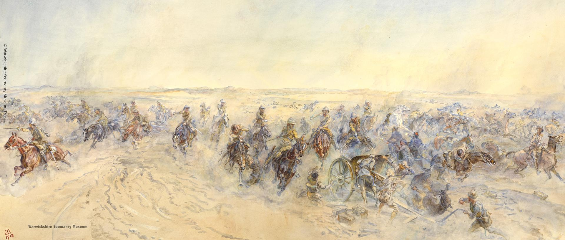 'Charge of the Warwick and Worcester Yeomanry at Huj, near Gaza, on the 8th November 1917', by Lady Elizabeth Butler. © Warwickshire Yeomanry Museum Trust. All Turkish casualties' wounds at Huj were inflicted by thrusts from the Pattern 1908 sword.