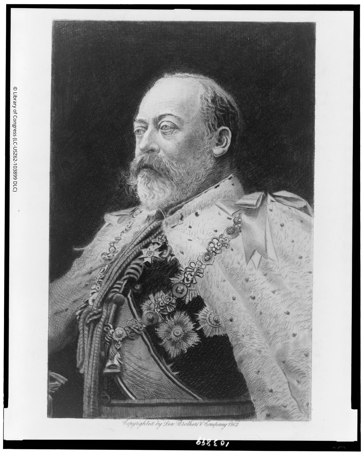 Engraving of King Edward VII, by Lea Brothers & Company, 1902. Library of Congress LC-USZ62-103899.