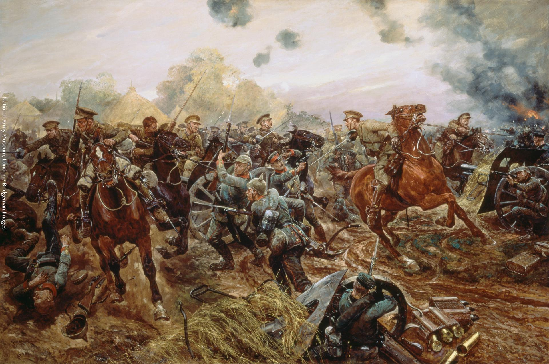 Painting entitled, ' The First VC of the European War, 1914,'  depicting Captain Francis Grenfell, 9th Lancers at Audregnies, 24 August 1914  by Richard Caton II Woodville.