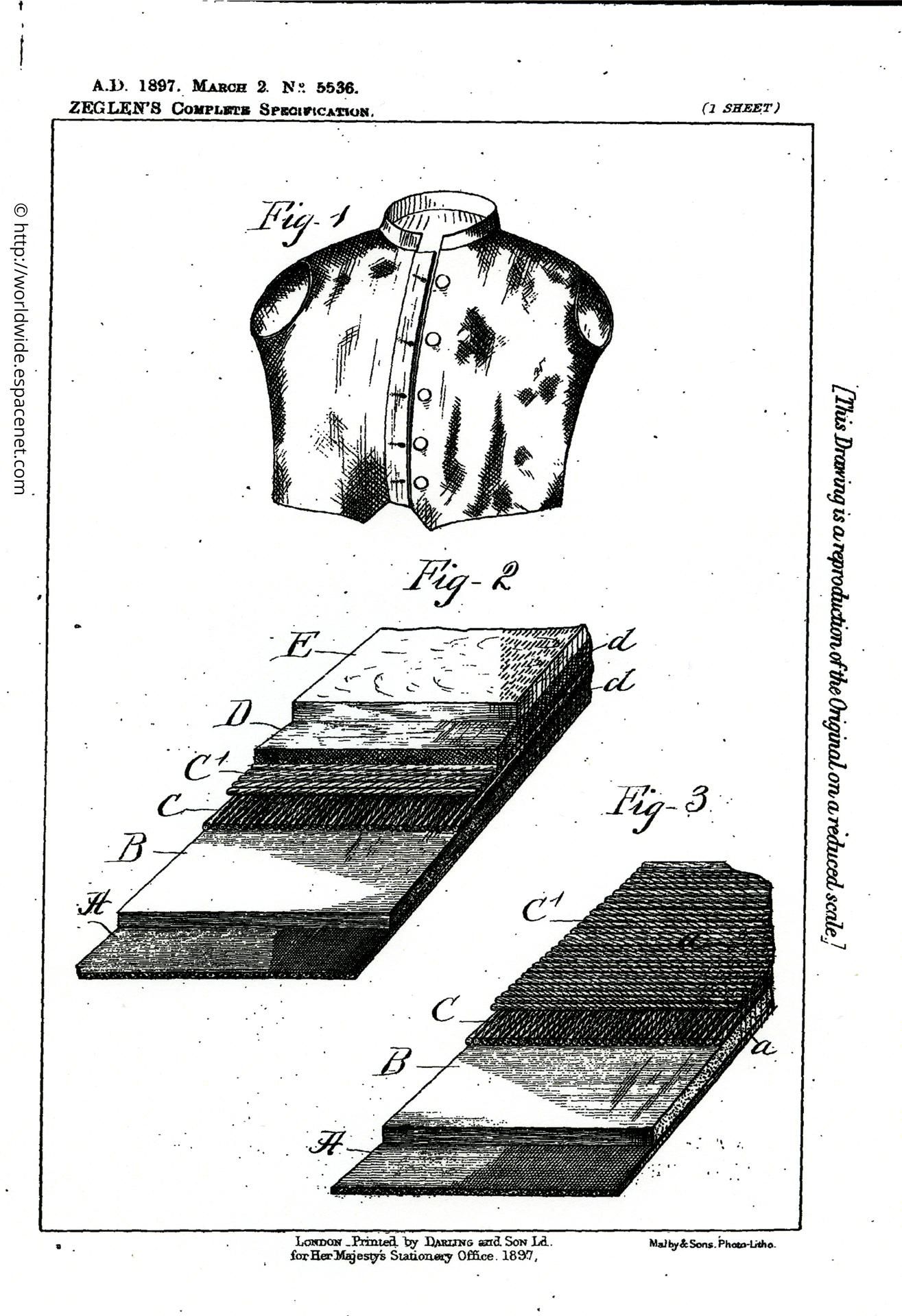 Patent drawing for Casimir Zeglen's silk bullet proof vest, patent No.5536, London, 1897, printed by Darling and Son Ld, for her Majesty's Stationary Office. (http://worldwide.espacenet.com)