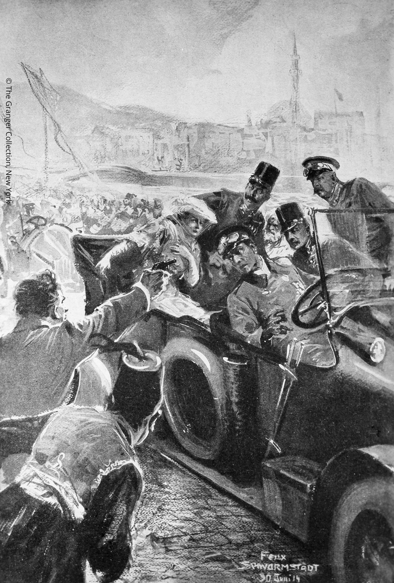 Painting depicting the assassination of Archduke Franz Ferdinand and Archduchess Sophie at Sarajevo, Bosnia, on 28 June 1914, by Felix Schwarmstadt. FRANCIS FERDINAND ?(1863-1914).