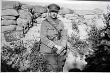 Thumbnail image of Photograph of Captain W Fawcett of the King's Own Royal Lancaster Regiment, pictured at Dead Cow Corner via Gallia trench. Fawcett was in the 1/5th Battalion, a Territorial unit, which he had joined in 1907.  Fawcett's battalion served from February 1915 until the war's end in France and Flanders and saw action in the major battles of Ypres, the Somme and Cambrai.  Fawcett survived the war and in 1919 became a Draft Conducting Officer for the battalion.