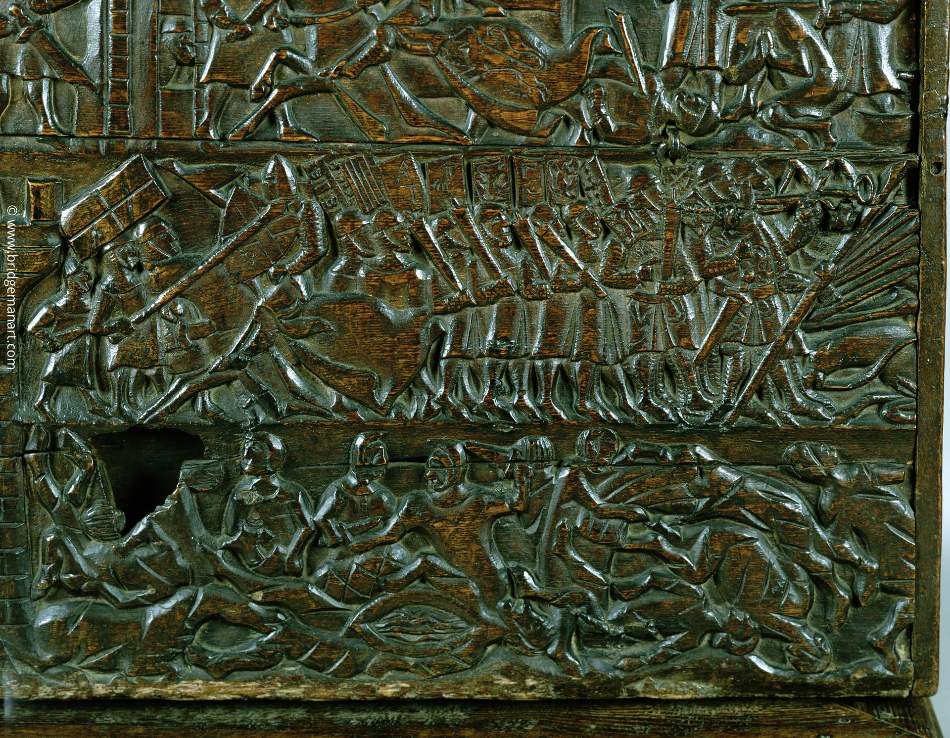 The Courtrai Chest depicting the Flemish line of battle during the Battle of the Golden Spurs, fought at Courtrai in 1302 (wood) (detail), Flemish School, (14th century) / © Courtesy of the Warden and Scholars of New College, Oxford / Bridgeman Images