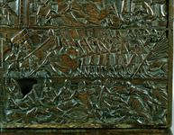 Thumbnail image of The Courtrai Chest depicting the Flemish line of battle during the Battle of the Golden Spurs, fought at Courtrai in 1302 (wood) (detail), Flemish School, (14th century) / © Courtesy of the Warden and Scholars of New College, Oxford / Bridgeman Images