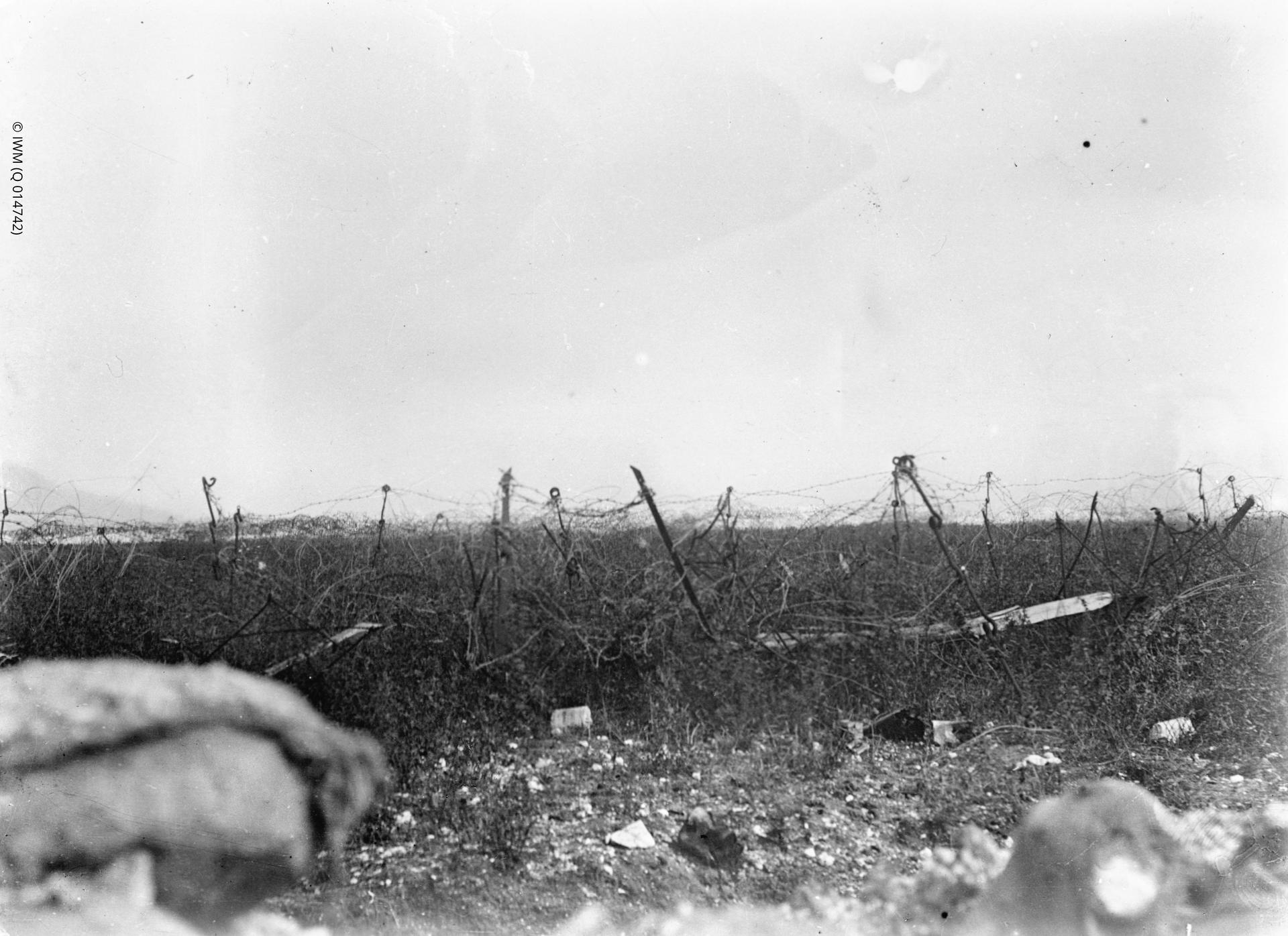 Photograph of a view of the British wire and across No Man's Land taken over the parapet by the Bag Number Board (54.A) seen in Q 14741. RN Division, August - September 1916.