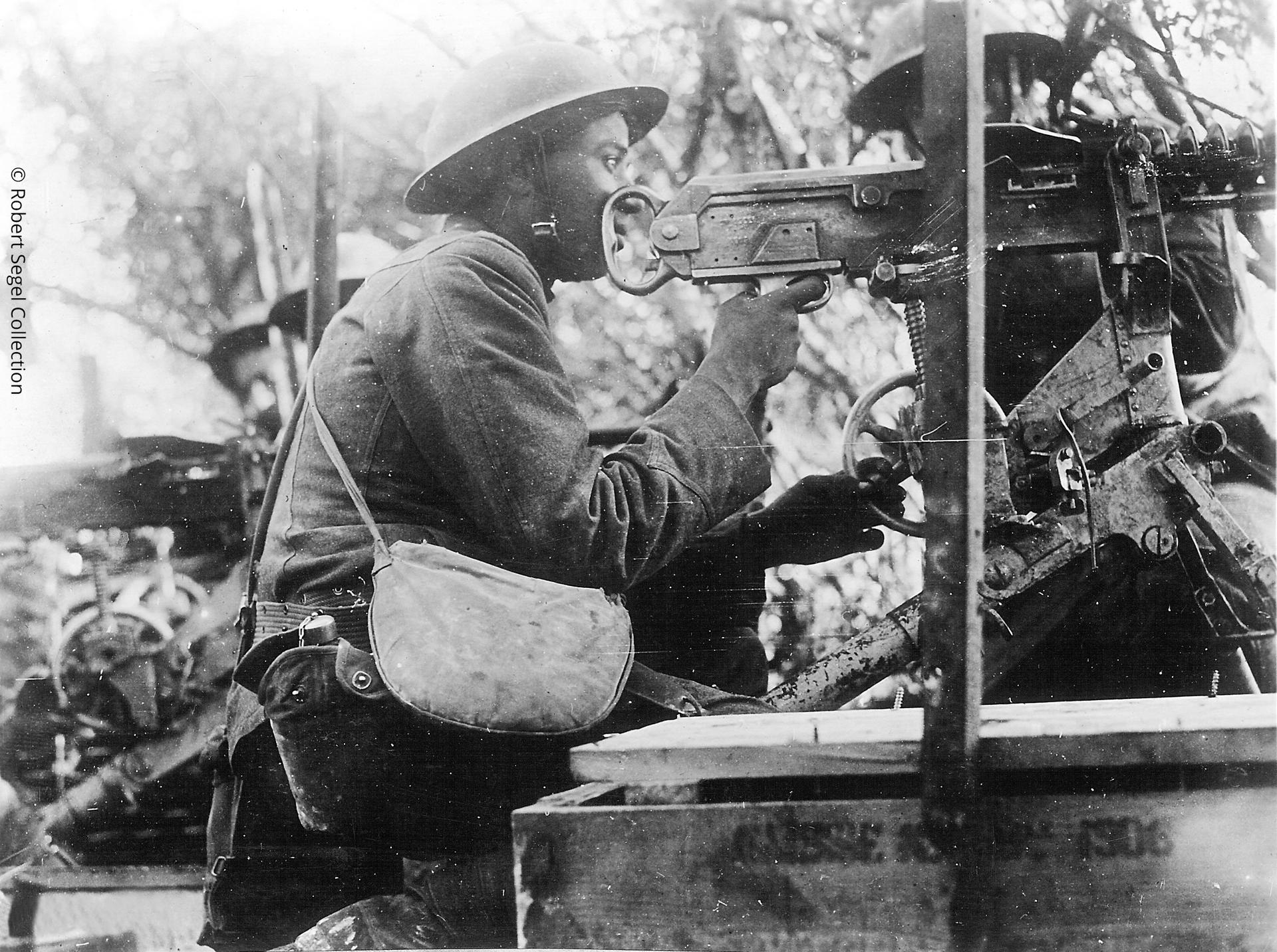 The Hotchkiss was also used by American troops, including these segregated 'Buffalo Soldiers' of the 92nd Division, pictured in July 1918