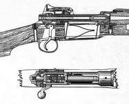 Thumbnail image of A detail from a technical drawing, SAID 2058, showing the action of the Pattern 1914 rifle with its two strong locking lugs at the head of the bolt (SAID 2058) © Royal Armouries