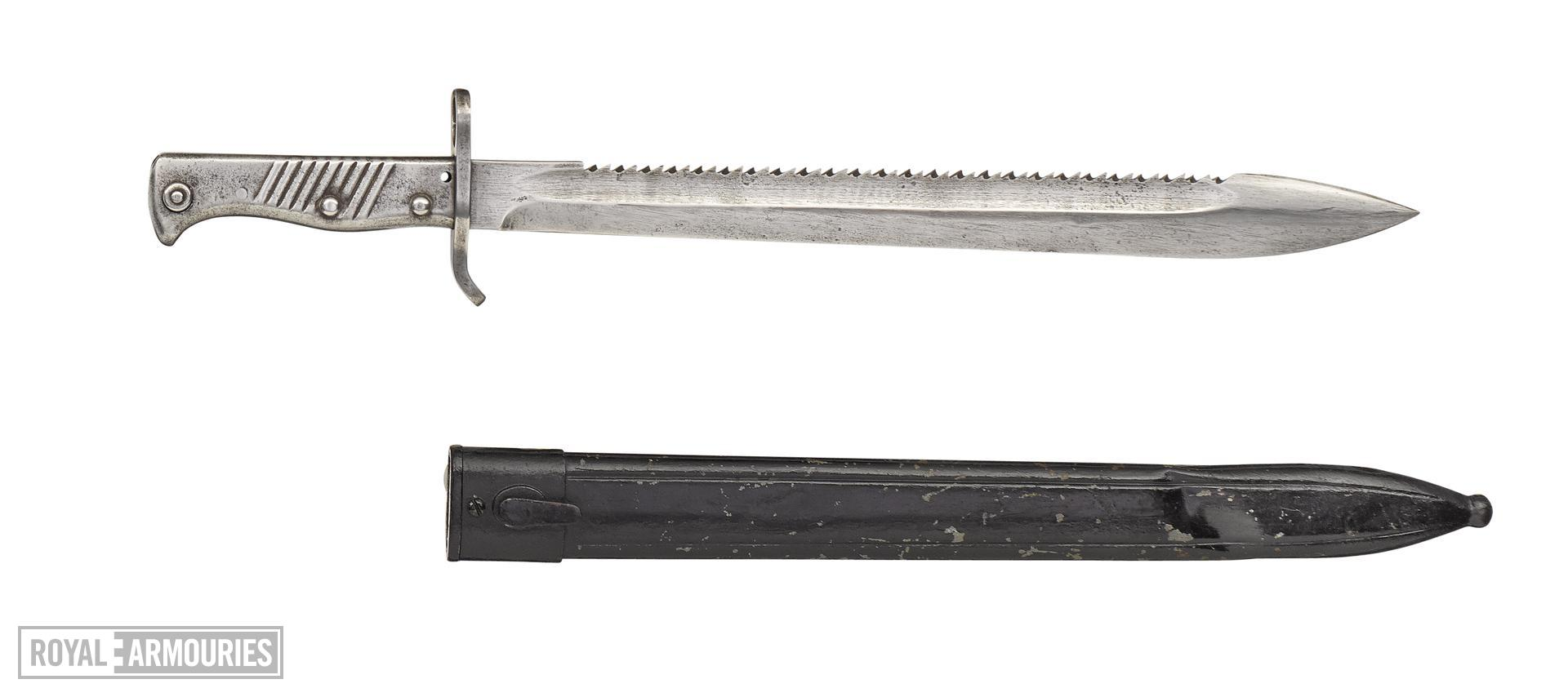 Sawback type Model 1898/05 bayonet and scabbard for the Mauser Model 1898  rifle , Germany, about 1905-1945, with scabbard. Serial No. NVN