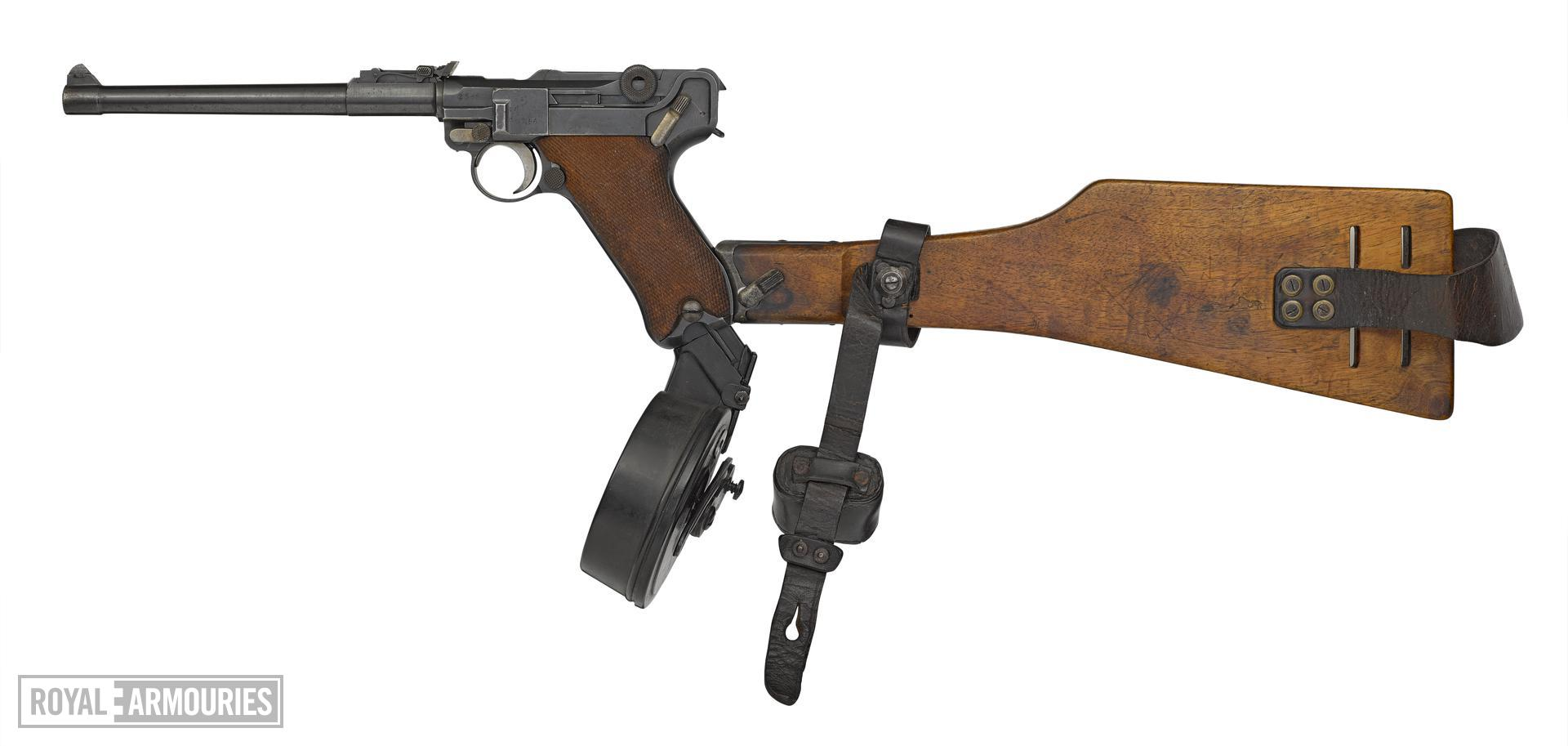 Luger LP08 Artillery Model centrefire self loading pistol pistol, with holster, butt and magazine. Germany, 1917