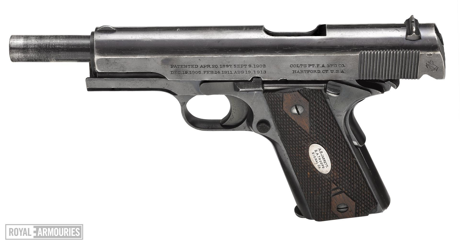 Colt Model 1911 Government model centrefire self loading pistol, American, 1914, named to A.B.Jarrett