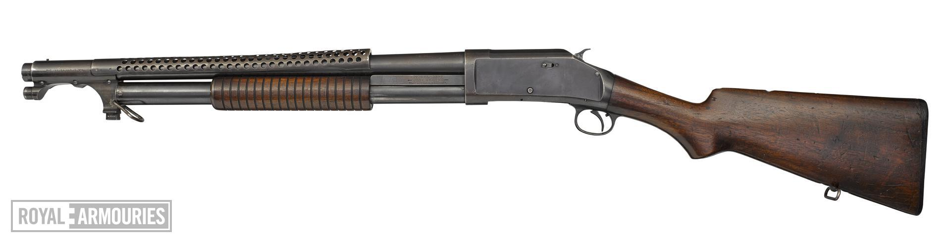 Winchester Model 1897 centrefire pump action military shotgun with model 1917 bayonet,American, 1921