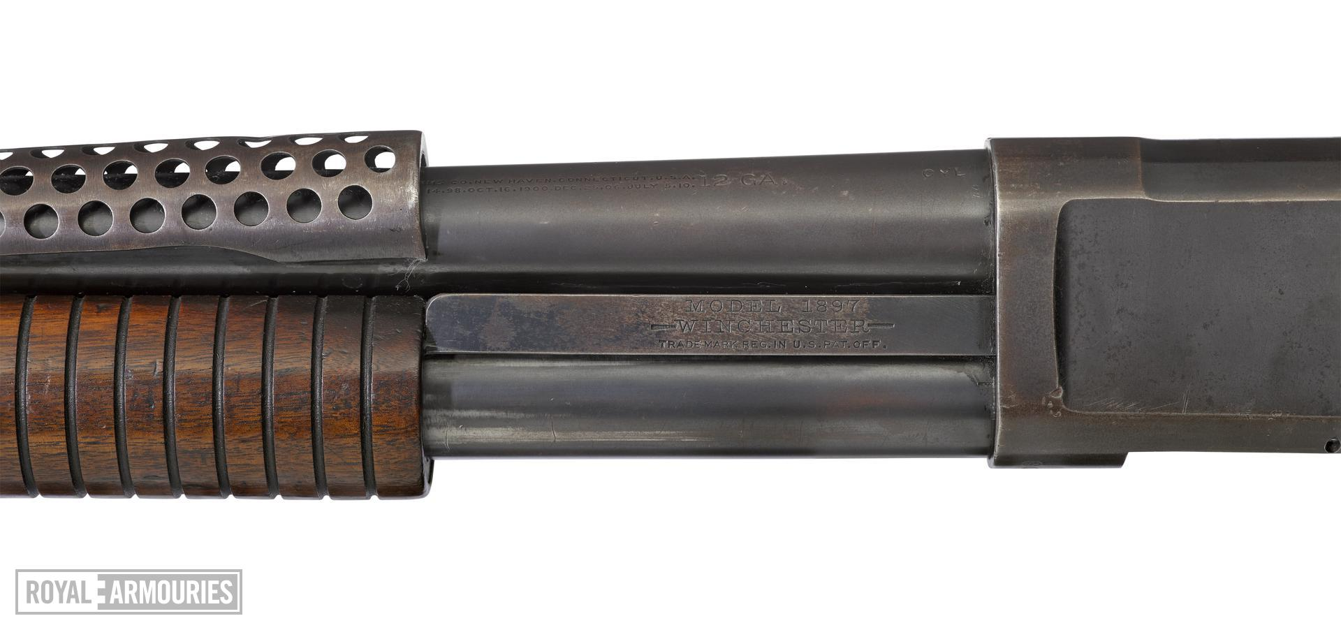Winchester Model 1897 centrefire pump action military shotgun with model 1917 bayonet, American, 1921