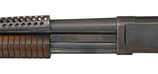 Thumbnail image of Winchester Model 1897 centrefire pump action military shotgun with model 1917 bayonet, American, 1921