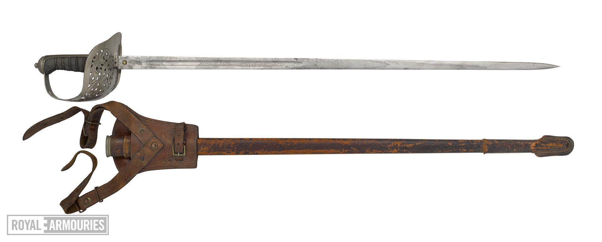 Pattern 1897 Infantry officer's sword and scabbard, Sam Browne belt, sword-frog and shoulder strap, Britain, 1897-1930
