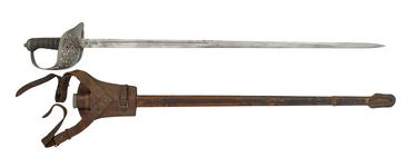 Thumbnail image of Pattern 1897 Infantry officer's sword and scabbard, Sam Browne belt, sword-frog and shoulder strap, Britain, 1897-1930
