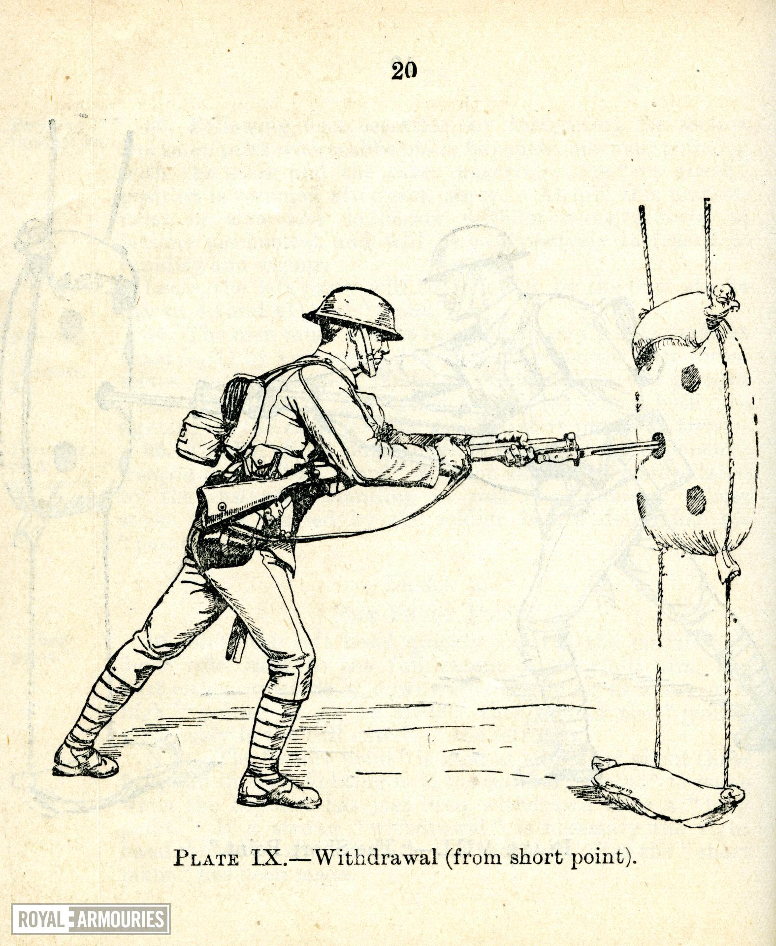 Plate IX showing ' Withdrawal  (from short point),' taken from the title, ' Musketry regulations. 1909, Bayonet Training, July 1919, London, Britain. Printed by HMSO. (RAL.22410)