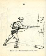 Thumbnail image of Plate IX showing ' Withdrawal  (from short point),' taken from the title, ' Musketry regulations. 1909, Bayonet Training, July 1919, London, Britain. Printed by HMSO. (RAL.22410)