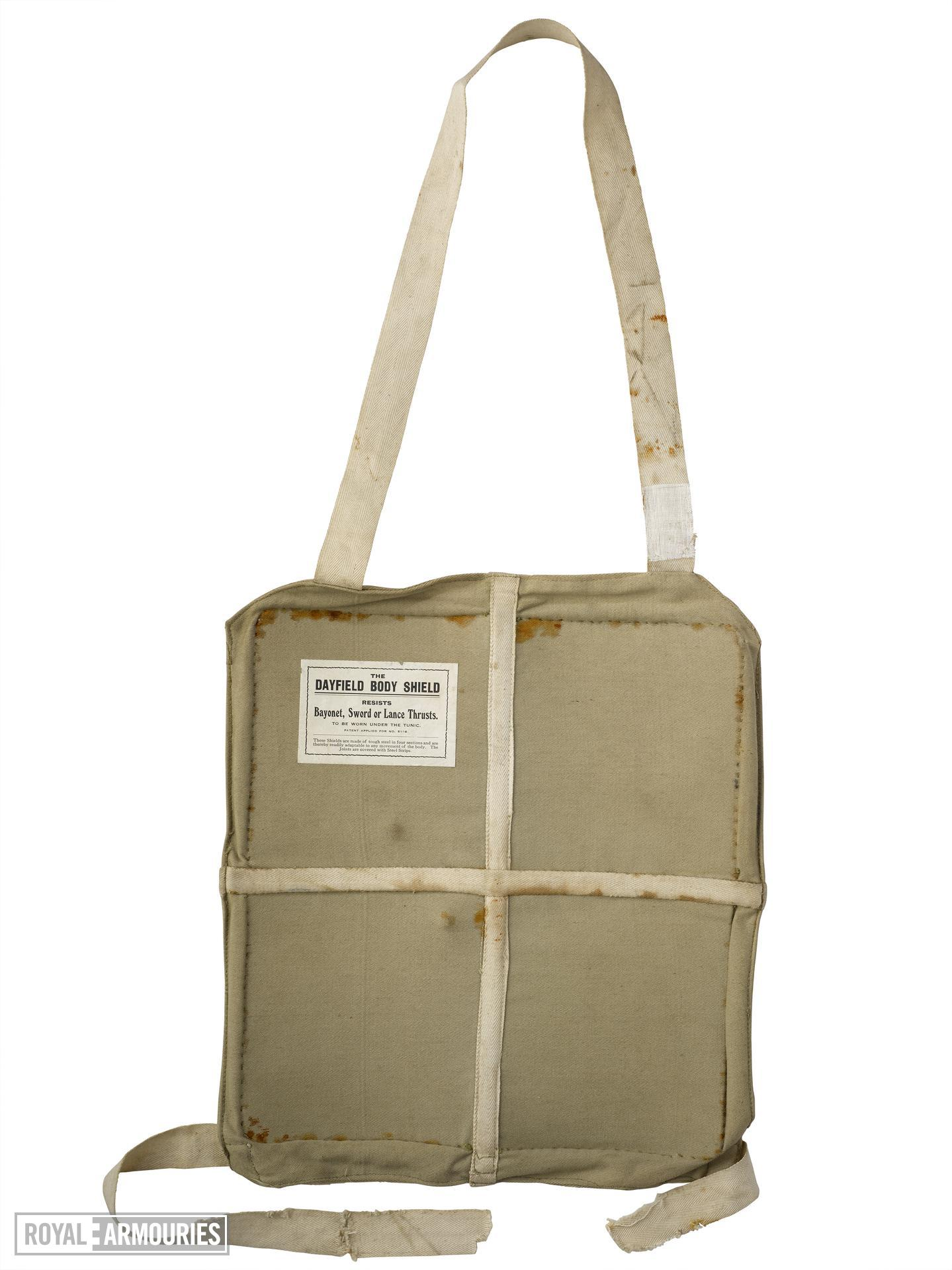 Dayfield body shield, British, 1914-18. Khaki drill covering with four steel plates sewn inside.