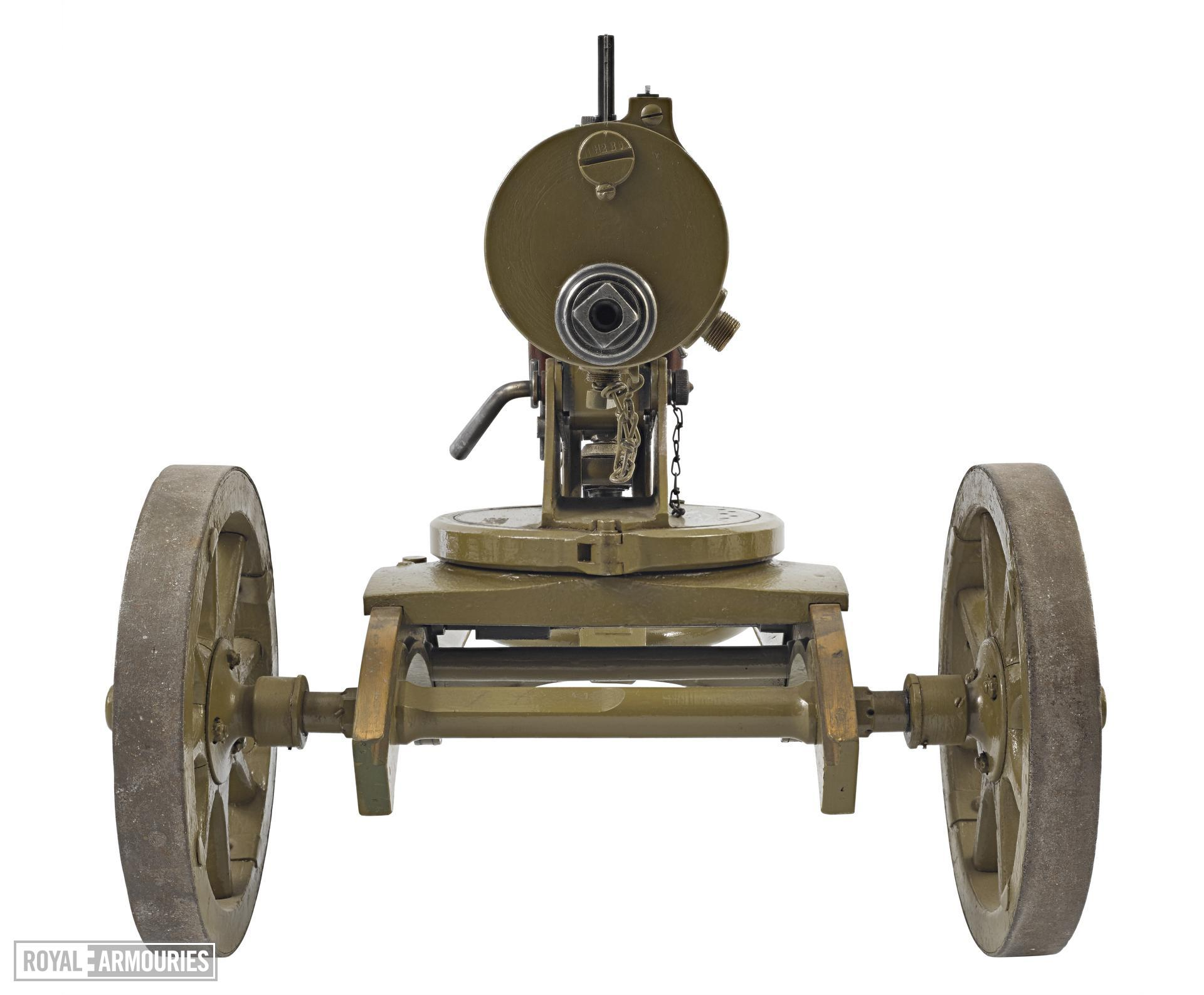 Maxim Model 1910 centrefire automatic machine gun, Russian, about 1910.  With wheeled mount (PR.129) for a Maxim Sokolv machine gun.