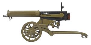 Thumbnail image of Maxim Model 1910 centrefire automatic machine gun, Russian, about 1910.  With wheeled mount (PR.129) for a Maxim Sokolv machine gun.