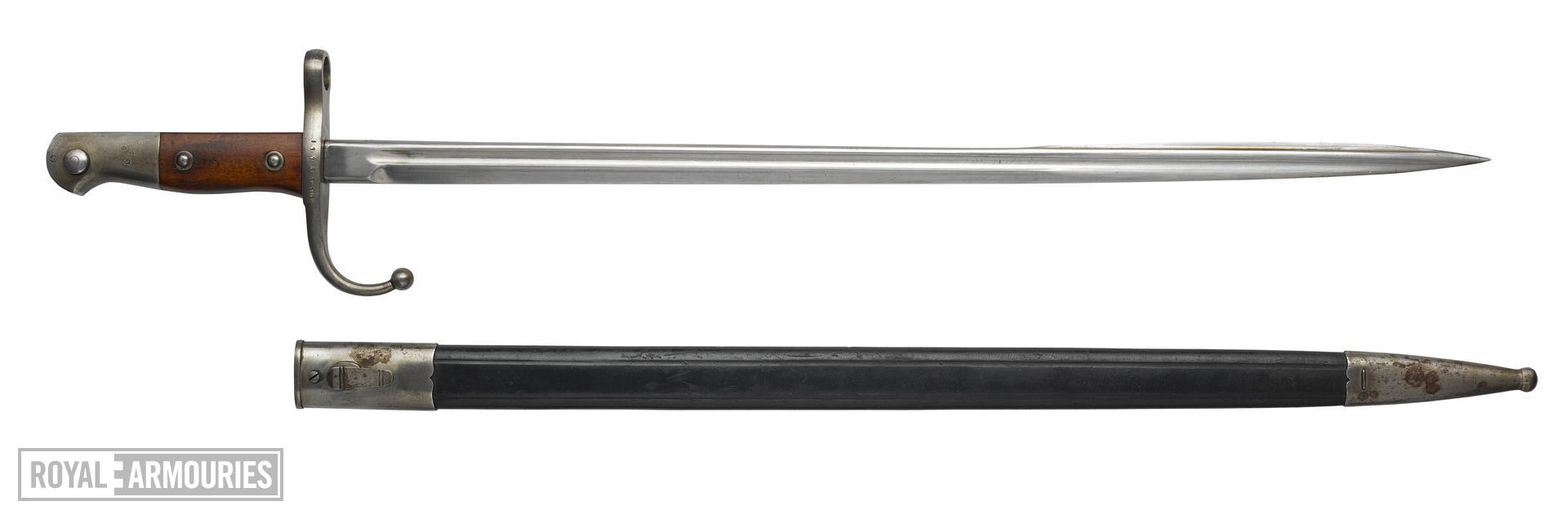 Bayonet and scabbard for Mauser Model 1903 rifle, Turkish, about 1903.