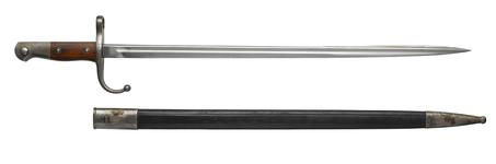 Thumbnail image of Bayonet and scabbard for Mauser Model 1903 rifle, Turkish, about 1903.
