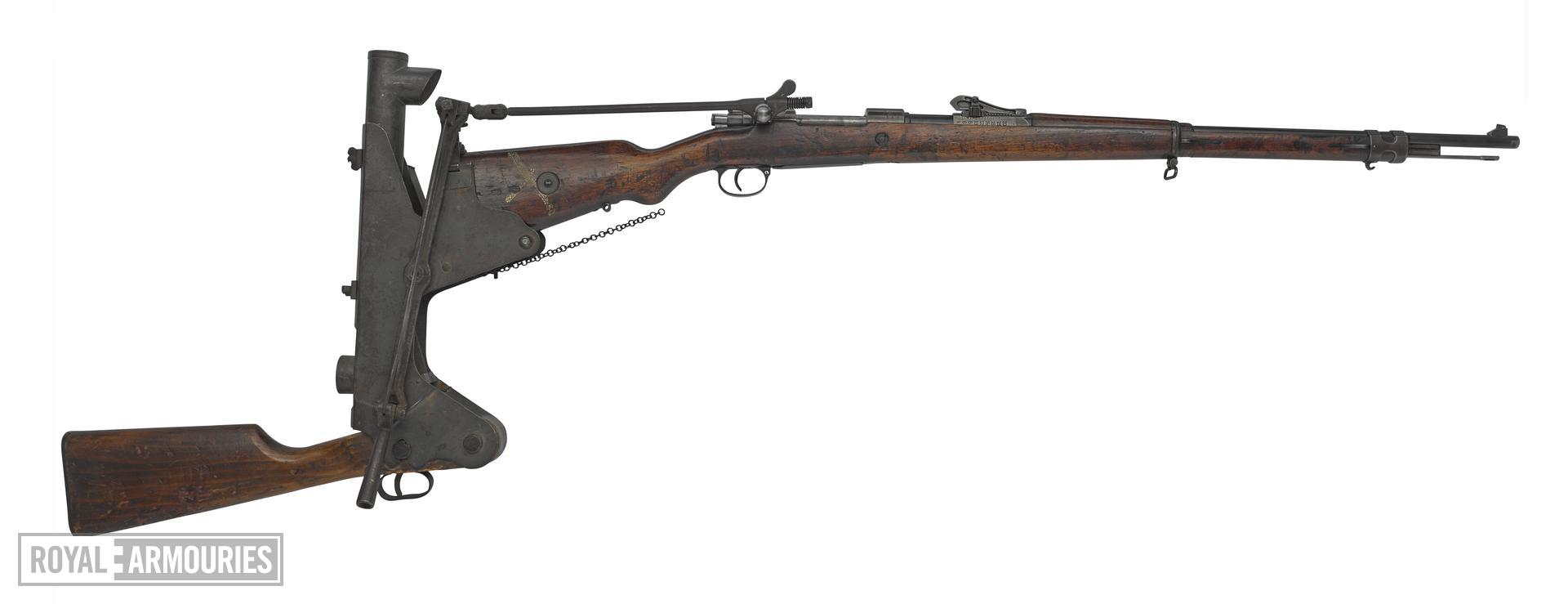 Mauser Gewehr 98 (Gew98) centrefire bolt action rifle with trench firing device, Germany, 1916. Fitted with trench firing device (XIII.1099) enabling rifles to be loaded and fired over a parapet.