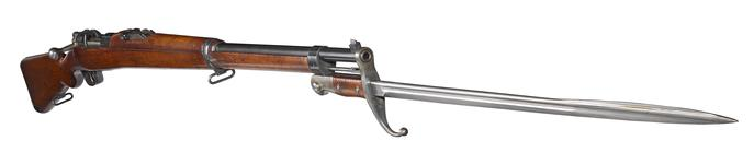 Thumbnail image of Mauser Model 1903 centrefire bolt action rifle fitted with bayonet (PR.2730), Turkey, about 1903.