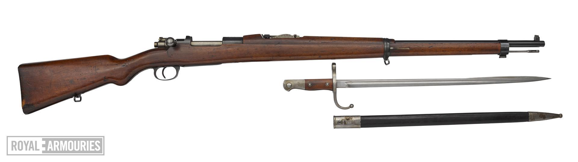Mauser Model 1903 centrefire bolt action rifle fitted with bayonet (PR.2730), Turkey, about 1903.