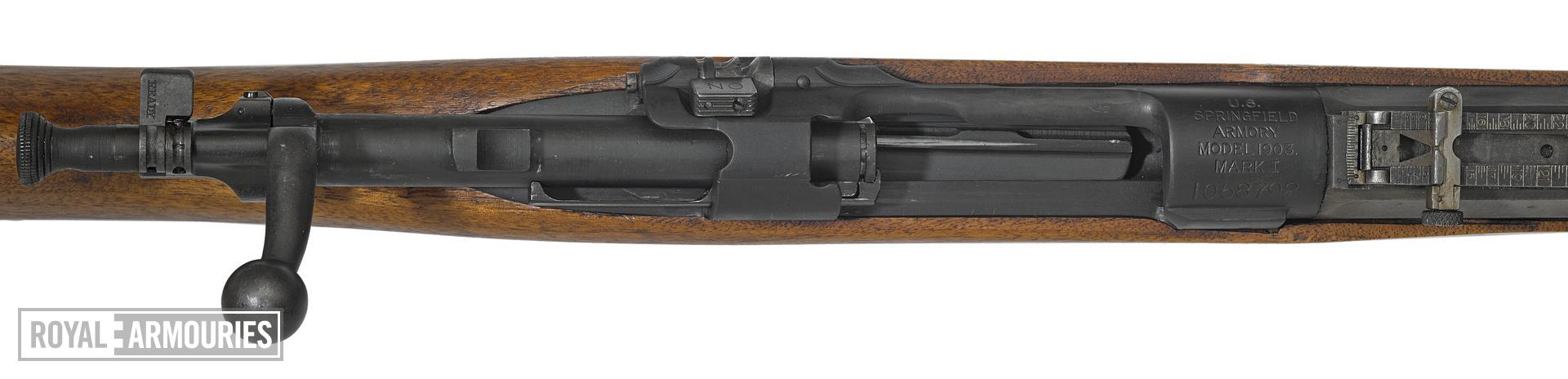 Model of 1903 Mark 1 Springfield rifle with Pedersen Device