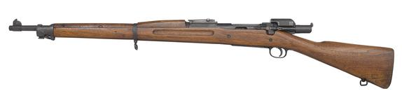 Thumbnail image of Springfield Model 1903 Mk.I centrefire bolt action rifle, United States, about 1903 (PR.7083), equipped with Pedersen Model 1918 Mk.I automatic device, United States, 1918 (PR.2495).
